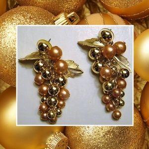 Vintage Gold Grape Post Earrings